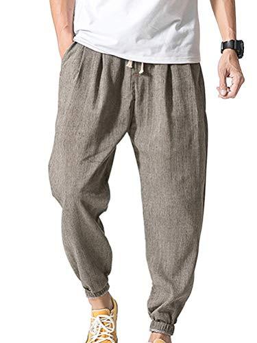 ORANDESIGNE Homme Pantalon en Mélange Coton Large Décontracté Plage Été Léger Confortable...