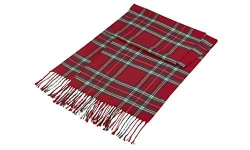 Lozange - Écharpe écossaise douce pour femme, motif carreaux rouge à franges - 30x180