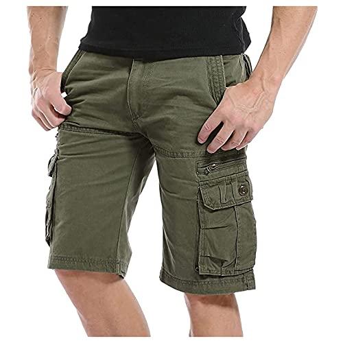 BIBOKAOKE Short cargo en coton pour homme - Couleur unie - Plusieurs poches - Bermuda - Longueur genoux - Pantalon tactique - Pantalon de travail - Pantalon de loisirs - Beige - Medium