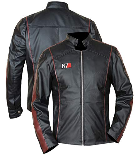 N-7 Mass Effect 3 Street Fighter Commander Shepard Gaming Veste en cuir noir pour homme - Noir...