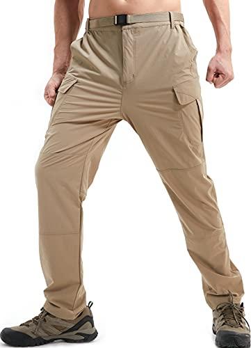 DAFENP Pantalon de Travail Cargo Homme Elastique Pantalon Randonnee Homme Ete Pantalon Montagne Outdoor Séchage Rapide Leger KZ511M-DarkKhaki-L