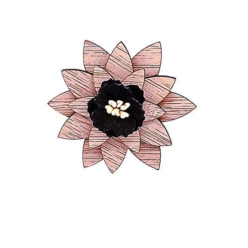Uteruik Broche en bois en forme de fleur, boutonnière de mariage, corsage pour femme et homme, costume veste de smoking, 1 pièce (#D)