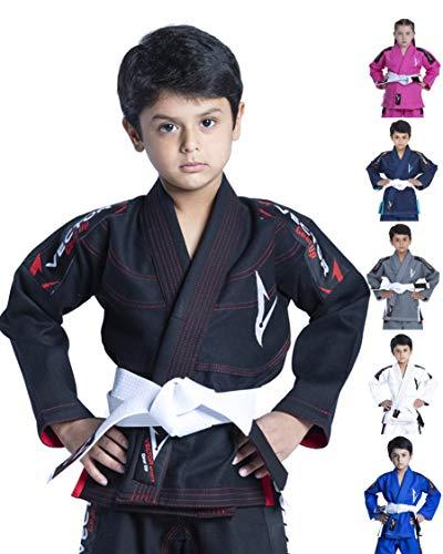 Vector Kimono Gi de jiu-Jitsu brésilien JJB pour Enfants, avec Ceinture Blanche Gratuite Tissu...