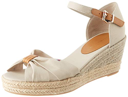 Tommy Hilfiger Basic Opened Toe Mid Wedge, Sandales Bout Ouvert Femme, Beige (Stone Aep), 41 EU
