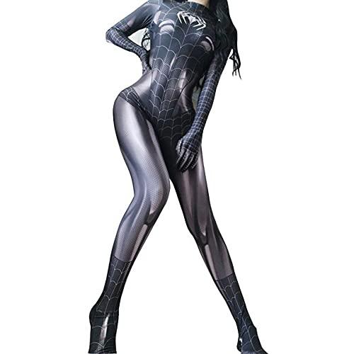 Filles Spider Man Cosplay Combinaisons Costumes Femmes Déguisements Body Adultes Avengers Jeu de Rôle Collants Siamois De Noël Onesies Costume,Black- Adults S 150~160cm prix et achat