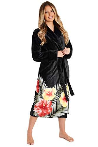 CityComfort Robe de Chambre Femme, Peignoir Femme en Polaire (Rouge Fleurs, M)