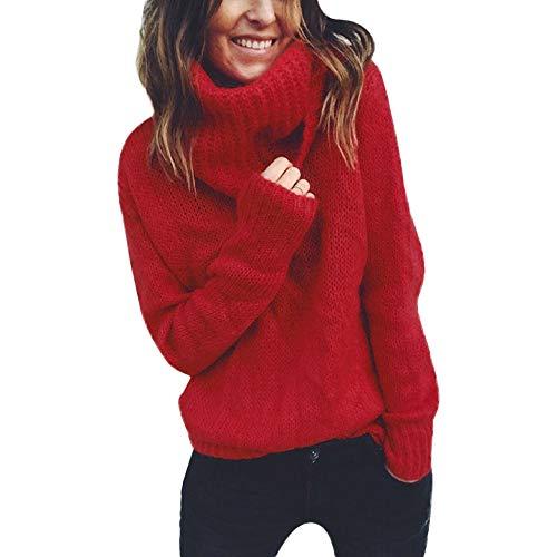 KEERADS Femme Chandail Pull, Automne Hiver Mode Élégant Couleur Unie Col Haut Manche Longue Sweater Blouse Chic en Vrac Jumper Tricots Pull Tops Pullover pour Printemps (M,Rouge)