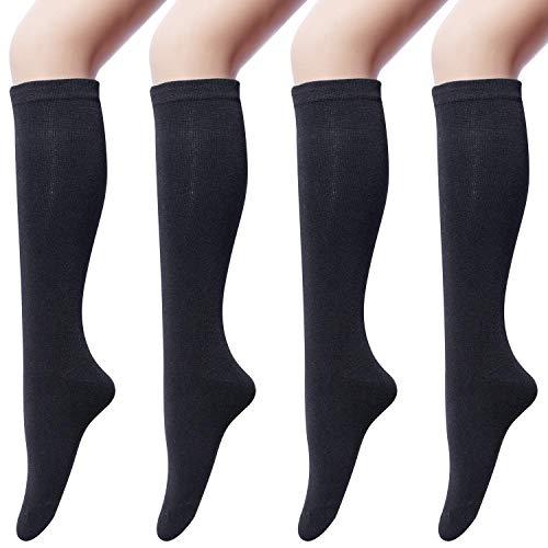 4 Paires de Chaussettes Hautes en Coton pour Femmes Chaussettes Montantes, Chaussettes Longue Genoux Solide Décontractées