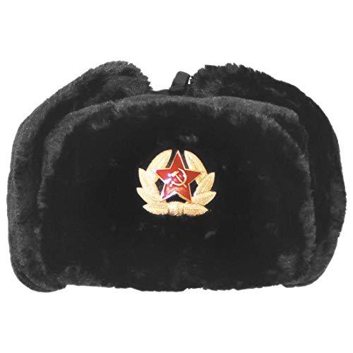 Islander Fashions Russe Chapeau De Trappeur Chapeau Avec Badge Sovi�tique Fausse Fourrure Ushanka Cosaque Flaps Chapeau Noir Une Taille