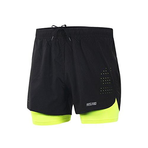 Short de sport ARSUXECO - 2 en 1 - Pour homme, Homme, Vert, Large