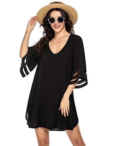 Balancora Robe de plage bikini sexy pour femme - En mousseline de soie - Tailles S-XXL - Noir -...
