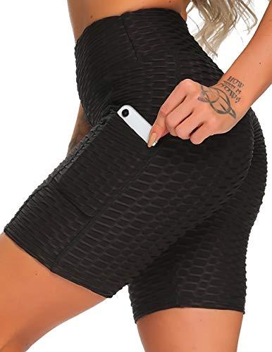 FITTOO Short de Sport Femme avec Poches Anti-Cellulite Legging Court Sexy Short de Yoga Push Up...