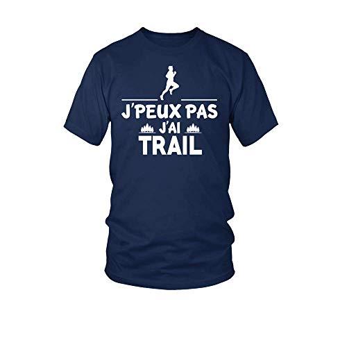 TEEZILY T-Shirt Homme J'peux Pas J'Ai Trail - Bleu Marine - L