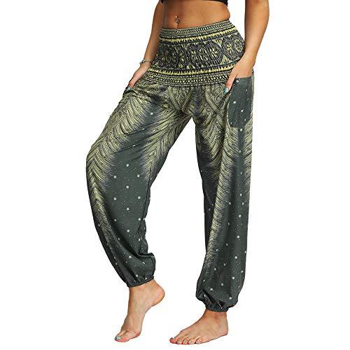 Nuofengkudu Femme Hippie Sarouel Harem Thai Pantalon Poches Boho Fleuri Print Taille Haute Baggy Casual Plage Leger Yoga Pants (Vert C,Taille Unique)