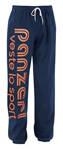 PANZERI Pantalone 100% Cotone, Pantalon de survêtement Mixte, Opacity, Blu/Arancio Fluo,...