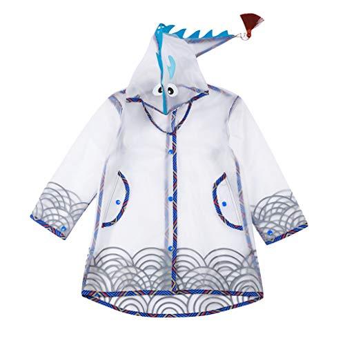Imperméable Veste de Pluie pour Enfant 2-12 Ans, Costume Garçon Fille en Forme de Dinosaure imperméable Pluie Poncho Pluie Cape Pluie Usure Unisexe Coupe Pluie