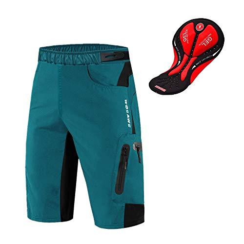 WOSAWE Shorts de Vélo pour Hommes Respirants 3D Gel Rembourrés VTT sous-vêtement Séchage Rapide Cuissard (Navy XXL)