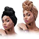 2 Pièces Écharpe Wrap de Tête Scarf Turban Extensible Longue Écharpe à Cheveux Wrap Couleur Unie Cravate Souple pour Femmes ,Noir, Marron,Taille unique