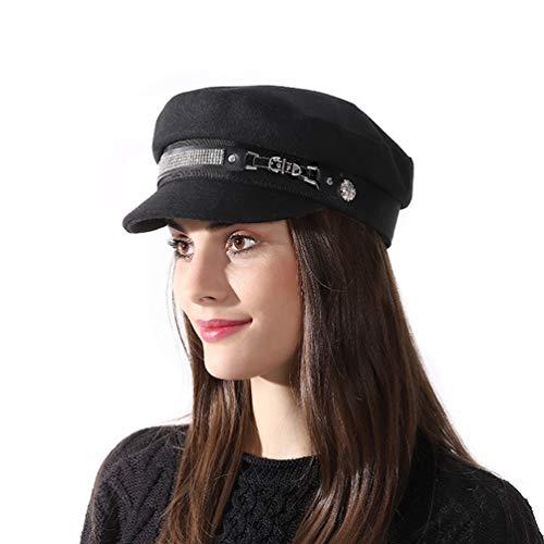 SIYWINA Femmes Newsboy Béret Casquette Souple Automne Vintage Bonnet Chapeau Visière Hiver,Taille unique,Noir