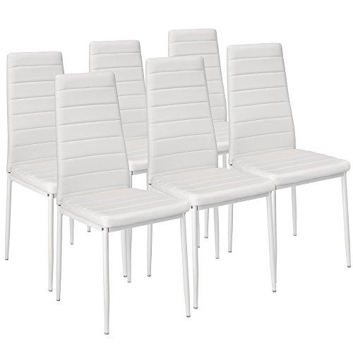 TecTake Lot de Chaise de Salle à Manger 41x45x98,5cm - diverses Couleurs et modèles au Choix - (6X Blanc   No. 401850)