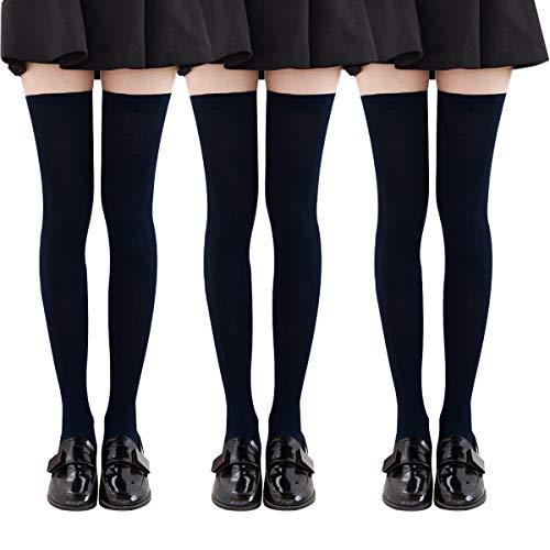 YSense 3 paires Chaussettes Hautes Montantes Femme Chaussettes de Genoux Longues,Noir,Taille Unique prix et achat