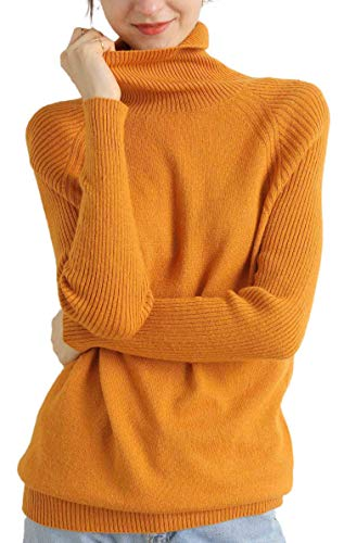 Liny Xin Pull Femme à Col roulé Léger en Laine Mérinos à Manches Longues pour l'Automne et l'hiver Solide Couleur Tricots, Ginger, M prix et achat