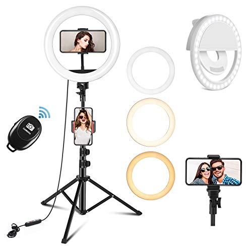 PEHESHE LED Lumière Anneau avec 1,56m Trépied, Lampe Annulaire Réglable avec 3 Modes d'Eclairage et 10 Niveaux de Luminosité pour TIKTOK/Youtube/Live Stream/Maquillage