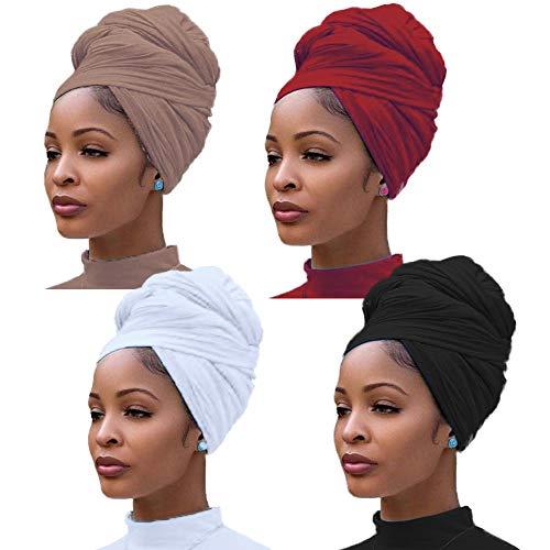 4 pièces Jersey extensible Turban Head Wrap Bonnets en tricot Écharpe de cheveux urbains Couleur unie Ultra Doux Extra Long Respirant Bandeau Cravate pour les femmes prix et achat