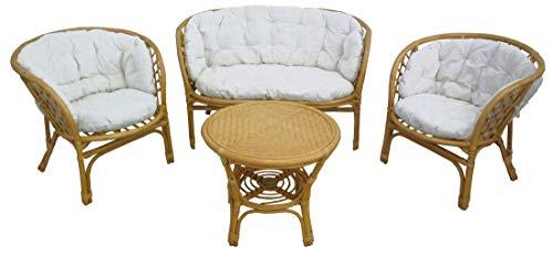 Savino Fiorenzo Luna Bahama Ensemble complet de salon en osier bambou et rotin naturel canapé fauteuils table