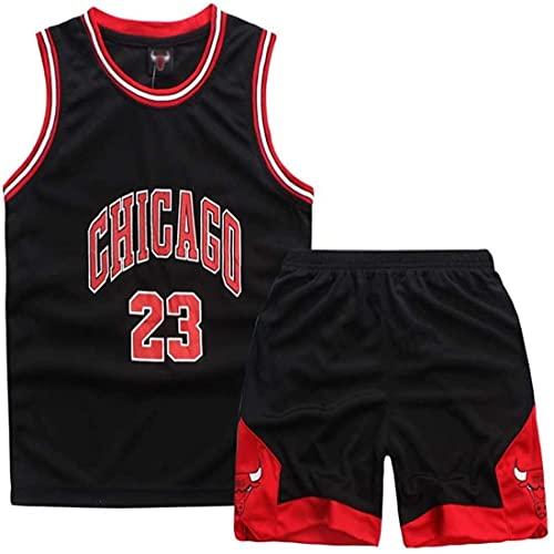 LWXIN Maillots De Basketball Basket Maillots Michael Jorden#23 Basketball T-Shirt Et Short Ensemble De Maillot pour Les Enfants (Noir,XXL(11-14 Ans))