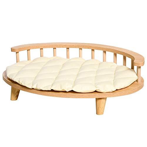 Pawhut Canapé Design Chien Chat Style Cosy Chic dim. 70L x 50l x 22H cm Coussin capitonné intégré écru Panneaux Particules Aspect Bois Clair