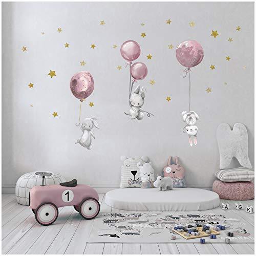 yabaduu Autocollant / sticker mural décoratif, auto-adhésif pour chambre d'enfant, de bébé et de jeux, au motif d'aquarelle et d'animaux, unisexe