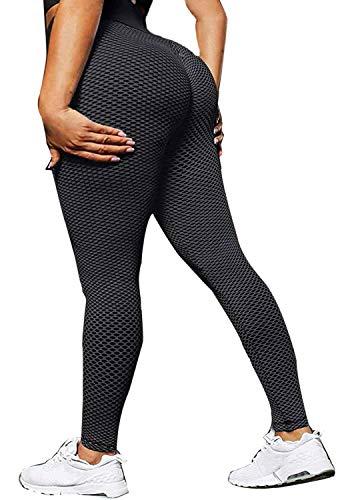 CheChury Leggings de Compression Anti-Cellulite Pantalon de Yoga Taille Haute Sport Slim Fit Butt Lift Yoga Pants Elastique pour Femmes - Noir - L