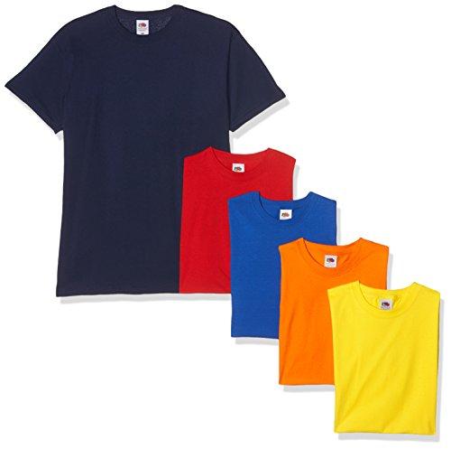 Fruit of the Loom Valueweight Short Sleeve T-Shirt, Bleu Marine/Rouge/Orange/Roi/Jaune, S (Lot...