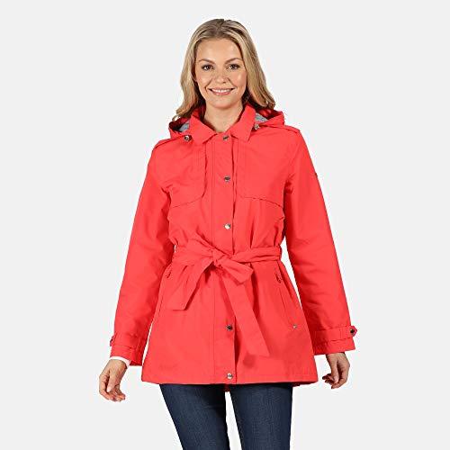 Regatta Parka Garbo imperméable et Respirante avec Doublure, Capuche détachable et Ouverture zippée intégrale Jackets Waterproof Shell Femme, Red Sky, FR : 2XL (Taille Fabricant : 20)