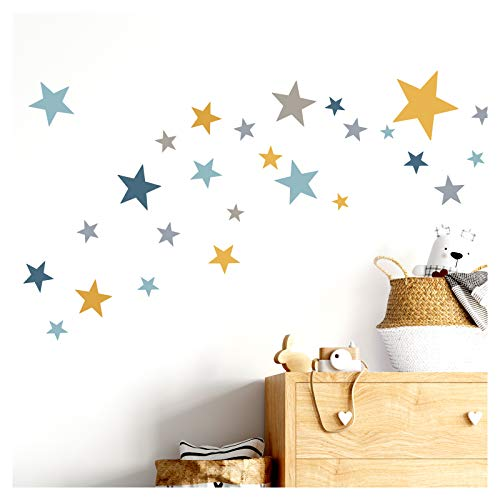 Little Deco DL409 Sticker mural, 60 étoiles, pour chambre d'enfant, fille et garçon, bleu gris jaune, plusieurs couleurs