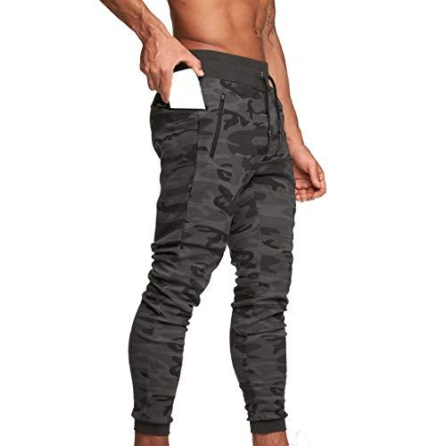 Pantalon de Jogging Homme Pantalon Sport en Coton Taille Elastique Survêtement Poche Disponible Jogger Survêtement Training Pants Cargo Activewear Sweatpants (Camouflage Gris, L)