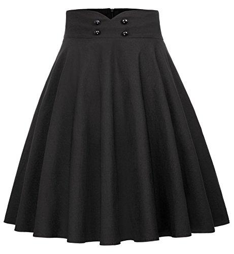Belle Poque Jupe Trapèze Midi Vintage Pin Up Jupe Noire Femme Mi Longue Taille S BP560-1
