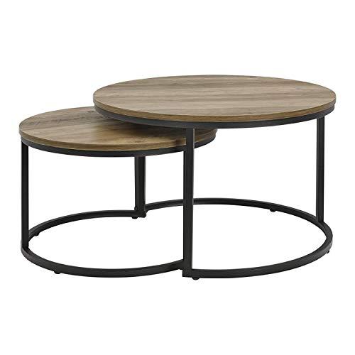 [en.casa] Set de 2 Tables Basses Rondes Gigognes Table de Salon...
