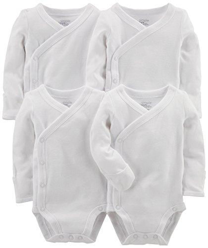Simple Joys by Carter's Baby Lot de 4 bodies à clipser sur le côté ,blanc,0-3 Months