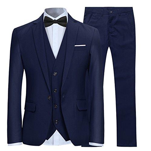 Costume Homme Mariage 3 Pièces Slim Fit Smoking Costumes Couleur Pure Formel Veste Gilet et Pantalon Homme, Bleu Marine, M