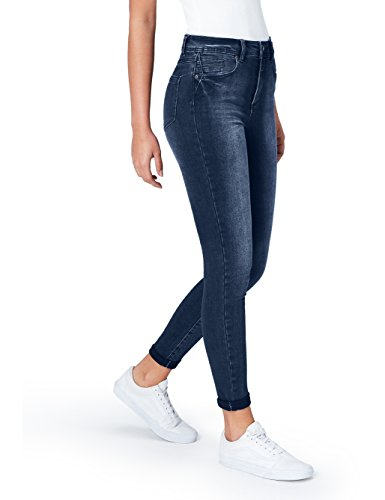 Marque Amazon - find. Jean Skinny Taille Normale Femme, Bleu (Mid Indigo), M (Taille fabricant: 30W / 32L)