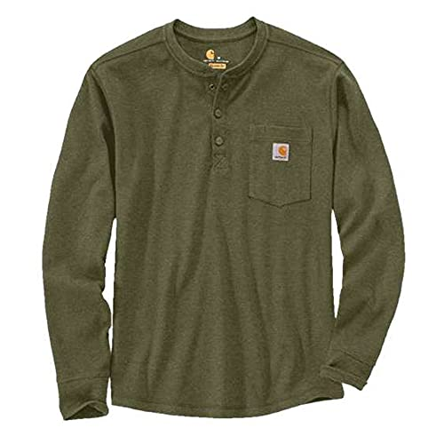 Carhartt T-shirt thermique de poche à manches longues pour homme avec 3 boutons sur le devant - Vert - Medium