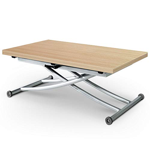 Menzzo Table Basse relevable Carrera, Chêne Clair, Plateau...