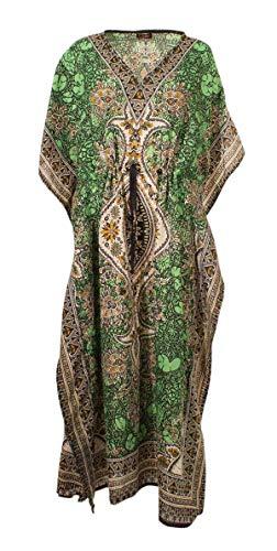 Kaftan Longues Oriental Style Caftan Polyester Boubou Africaine Robe ete Kaftan djellaba Femme Boheme Plage Beachwear Oversize Caftan (Anis, Taille Unique)