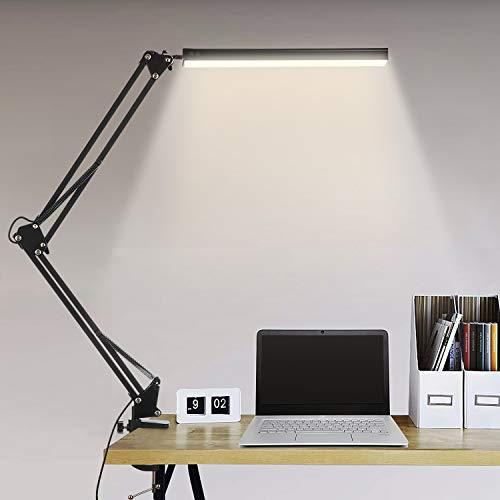 Lampe de Bureau LED, BIENSER 14W Lampe de Table Architecte Pliable avec Pince, 10 Niveaux de Luminosité X 3 Modes de Couleur, Lampe de table Réglable, Protection des Yeux, 5V/2A CE Adaptateur Incluse