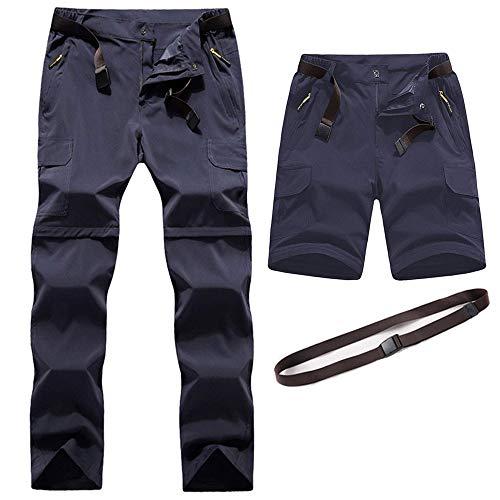 Pantalon de Randonnée Convertible pour Hommes en Plein air à Séchage Rapide Pantalon Respirant léger Résistant à l'eau Camping Trekking Montagne (Gris, EU M (= Tag 2XL, Taille: 30'-32'))