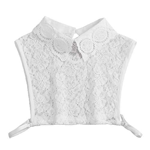 JOYKK Chandail décoratif pour Femme avec Faux col en Dentelle Florale Demi-Chemise Amovible - Blanc prix et achat