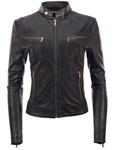 Veste de motard ultra-élégante en cuir véritable super doux pour femmes par MDK ,Noir ,Large/L/Buste=34 Pounces