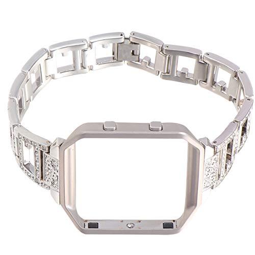 NICERIO Bracelet de Remplacement pour Montre Intelligente - Cadre de Montre en Alliage de Bande de Montre en Strass Compatible pour Fitbit Blaze Silver (Bracelet de Montre + Cadre de prix et achat